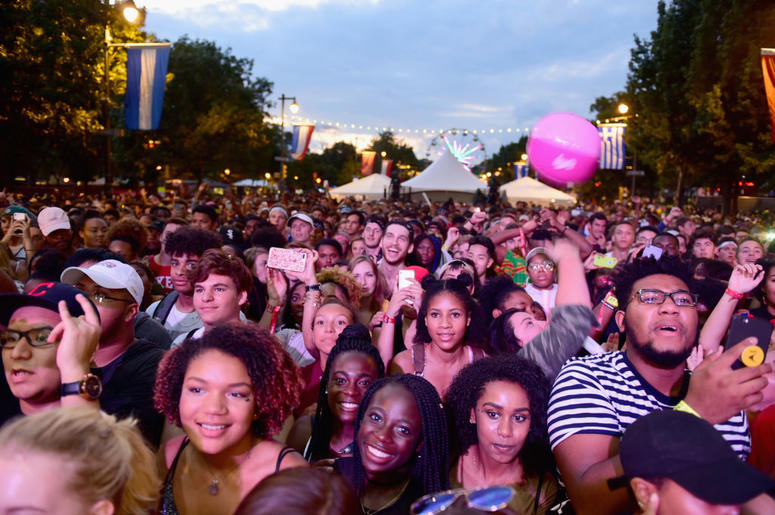 A view of the crowd at the 2017 Budweiser Made in America festival - Day 2 at Benjamin Franklin Parkway on September 3, 2017 in Philadelphia, Pennsylvania.