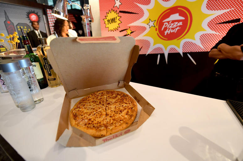 A view of the Pizza Hut pizza on display at the Pizza Hut Lounge at 2018 Comic-Con International: San Diego at Andaz San Diego on July 21, 2018 in San Diego, California.