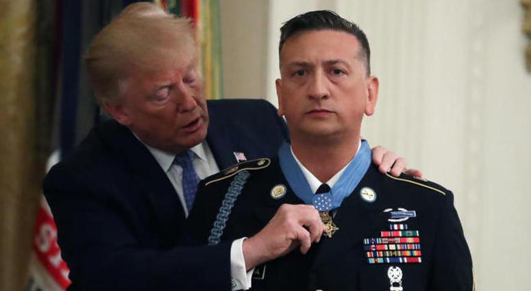 Donald Trump awarding David Bellavia Medal of Honor