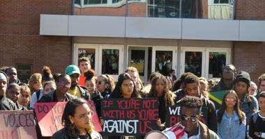 UConn students rally against the use of racial slurs on campus, 10/21/19.