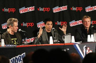 Martin Kove, Ralph Macchio and William Zabka attend 'The Karate Kid' 30th Anniversary Panel at 2014 New York Comic Con