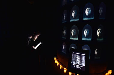 Invited guests use an interactive display which allows their face to be displayed alongside cast members at the Game Of Thrones: The Touring Exhibition launch at Titanic Exhibition Centre on April 10, 2019 in Belfast, Northern Ireland.