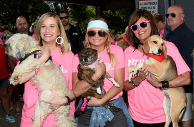 Mayor of Nashville Megan Barry, singer-songwriter Miranda Lambert, and Beverly Lambert attend the Miranda MuttNation March at Nissan Stadium
