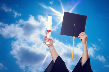 Cap and Gown In Air