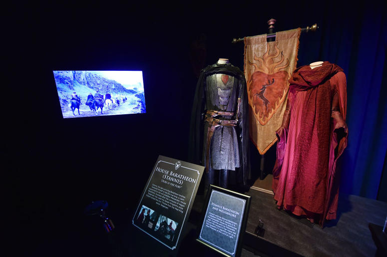 Costumes can be seen on display at the Game Of Thrones: The Touring Exhibition press launch at Titanic Exhibition Centre on April 10, 2019 in Belfast, Northern Ireland.