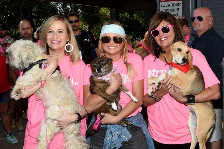 Mayor of Nashville Megan Barry, singer-songwriter Miranda Lambert, and Beverly Lambert attend the Miranda MuttNation March at Nissan Stadium