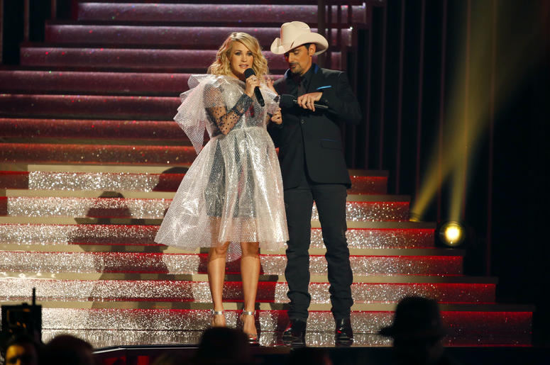 Carrie Underwood and Brad Paisley appear on the 52nd Annual CMA Awards
