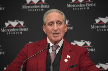 Atlanta Falcons owner Arthur Blank speaks at a press conference for Super Bowl LIII at Super Bowl Media Center.