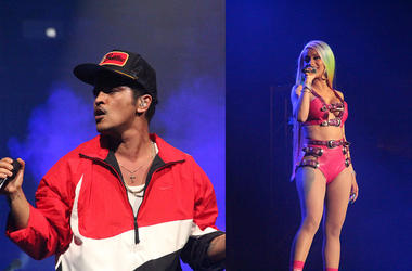 Bruno Mars and Cardi B perform at the Bud Light Super Bowl Music Fest in Atlanta on Saturday, February 2, 2019