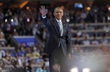 President Barack Obama during the 2016 Democratic National Convention at Wells Fargo Center