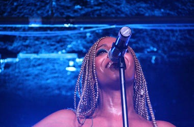 Jade Novah smiles during her summer 2018 V-103 Soul Sessions performance in Atlanta