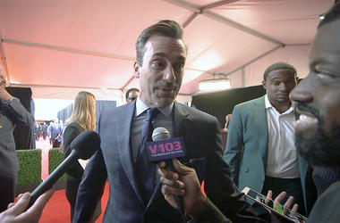 JR of The Morning Culture interviews Jon Hamm on the red carpet at the NFL Honors on Feb 2, 2019