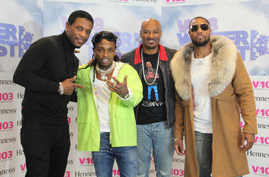 Keith Sweat, Jacquees, Big Tigger and Tank backstage at the 2018 V-103 Winterfest, on December 15, 2018, at Atlanta's State Farm Arena