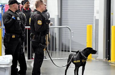 Jan 8, 2018; Atlanta, GA, USA; Police and and a police K-9 patrol the stadium before the 2018 CFP national championship college football game between the Georgia Bulldogs and the Alabama Crimson Tide at Mercedes-Benz Stadium.