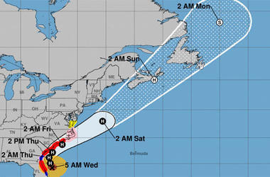 "The National Hurricane Center says Dorian's core ""will move dangerously close to the Florida east coast and the Georgia coast through tonight."