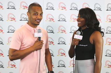 T.I & Liz Backstage At The V-103 Car & Bike Show
