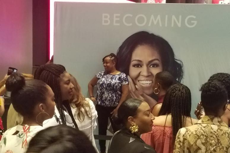 There were long lines to buy merchandise and to photos with a likeness of former first lady Michelle Obama.