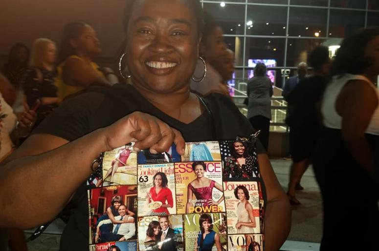 Keysha McIntyre wore a Michelle Obama t-shirt and a purse with photos of the former first lady.