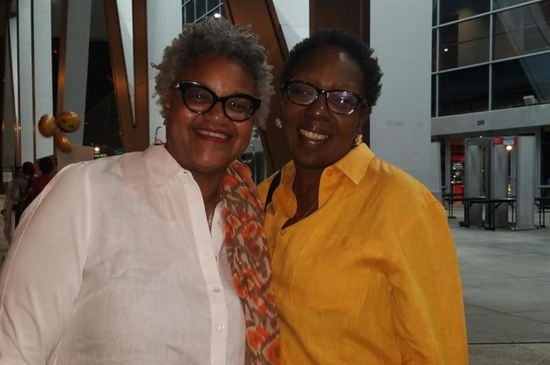 Donna Grant Dunn (l) took her sister Kimberly Grant (r) to the Michelle Obama event for Mother's Day.