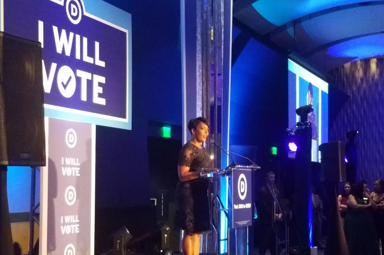Atlanta Mayor Keisha Lance Bottoms is shown addressing a Democratic National Committee Conference in Atlanta in 2018