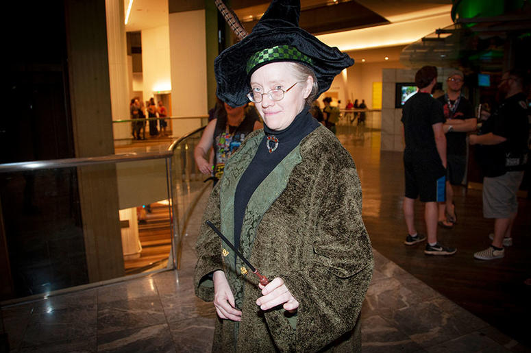 A cosplayer as Professor McGonagall of Harry Potter at Dragon Con