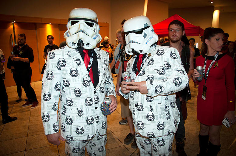 Two suited-up Stormtroopers at Dragon Con