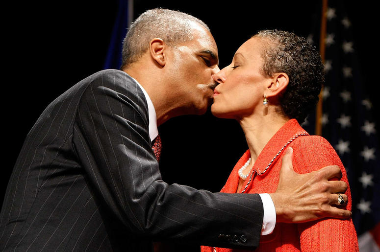 Eric Holder and wife Sharon Malone