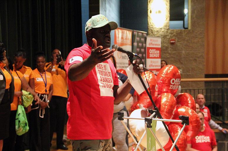Greg Street talks to Langston Hughes High School students