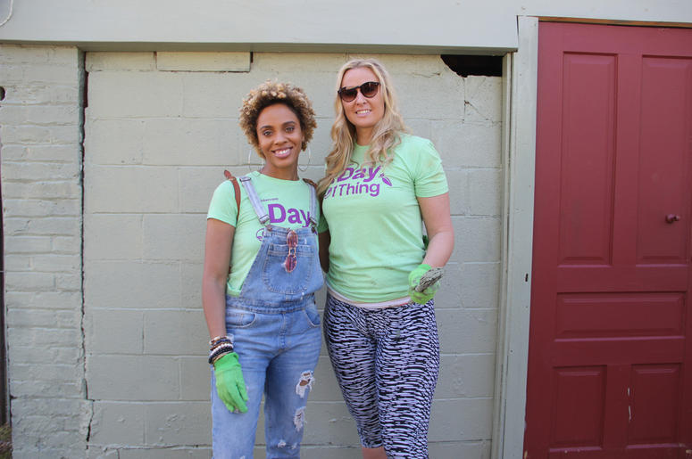 Jade Novah and DJ Grace L'amour volunteer at Urban Farms in College Park, GA, on Earth Day 2019