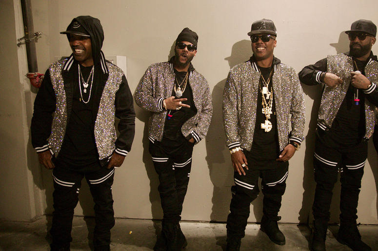 Jagged Edge backstage at State Farm Arena