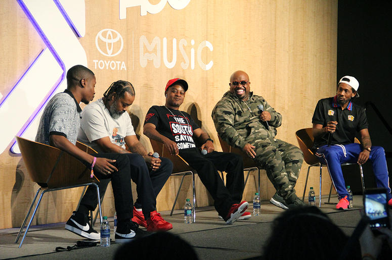 """Goodie Mob is interviewed by Jinx of Revolt TV's """"State of the Culture"""" show at A3C in Atlanta on October 4, 2018"""