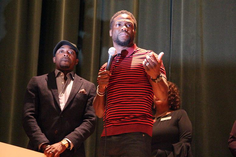 Kevin Hart speaks to Langston Hughes High School students