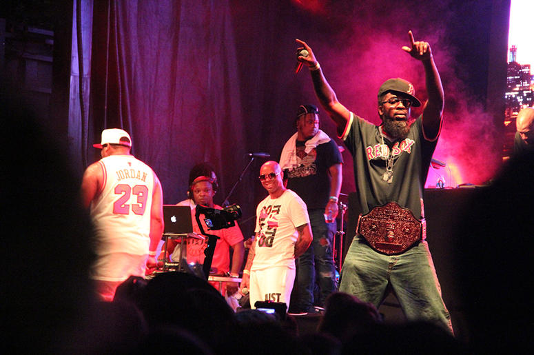 Pastor Troy performs onstage with V-103's DJ Jelly at A3C in Atlanta on October 7, 2018