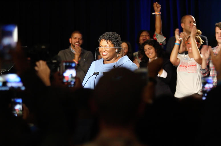 Stacey Abrams greets supporters at her election night campaign party