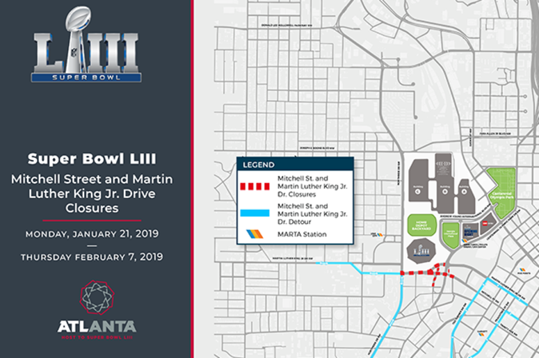 A map of Atlanta's first road closures for Super Bowl 53
