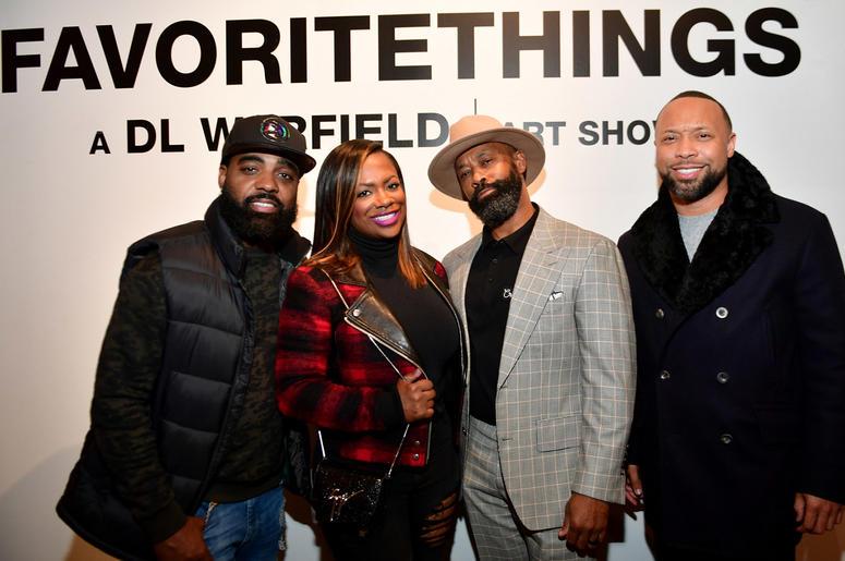 "Todd Tucker, Kandi Burruss, D.L. Warfield and tech entrepreneur Paul Judge at DL Warfield's ""My Favorite Things"" Art Exhibit in Atlanta; November 30, 2018."