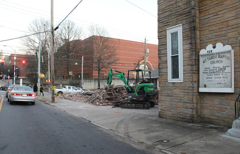 "The bricks and rubble from the demolished building where Fabian Williams ""Kaeplanta"" mural was painted"