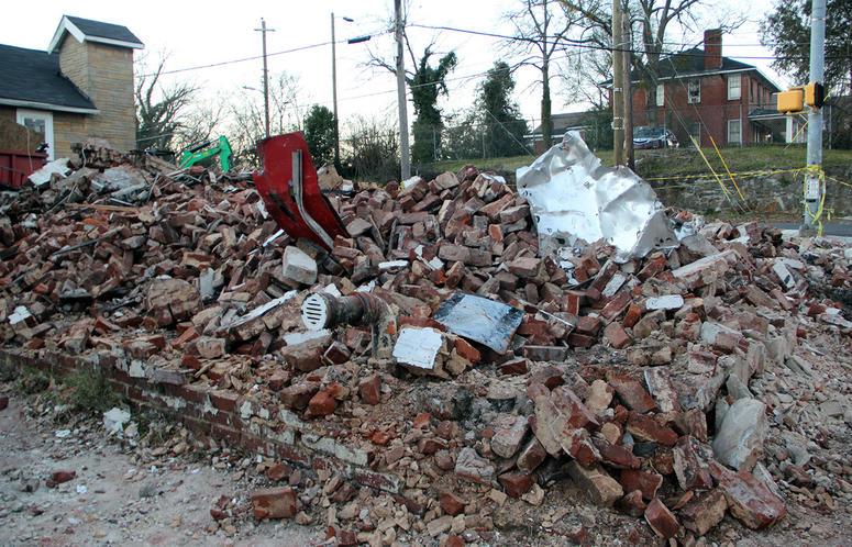 "The pile of bricks that were once Fabian Williams' ""Kaeplanta"" mural on the corner of Fair St. and Joseph E. Lowery Blvd."