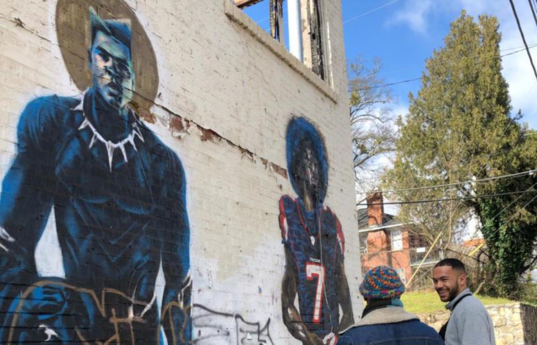 "Fabian Williams' ""Wakanda Ali"" and ""Kaeplanta"" murals before they were demolished"