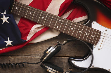 American Flag Headphones Guitar