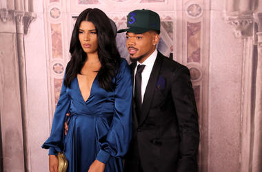 Kirsten Corley and Chance the Rapper attend the Ralph Lauren fashion show during New York Fashion Week at Bethesda Terrace on September 7, 2018 in New York City