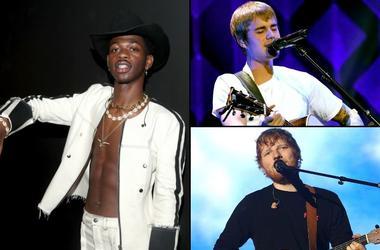 Lil Nas X, Justin Bieber, and Ed Sheeran