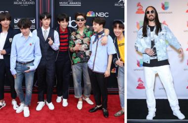20 May 2018 - Las Vegas, NV - BTS. 2018 Billboard Music Awards Red Carpet arrivals at MGM Grand Garden Arena. / 16 November 2017 - Las Vegas, NV - Steve Aoki. 2017 Latin Grammy Photo Room at MGM Grand Garden Arena.