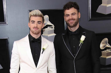 Jan 28, 2018; New York, NY, USA; Andrew Taggart (L) and Alex Pall of The Chainsmokers arrive at the 60th Annual Grammy Awards at Madison Square Garden.