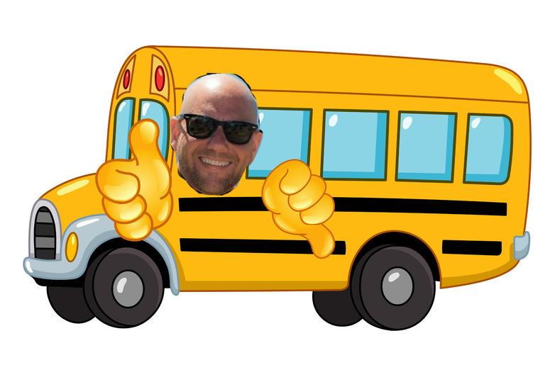karson on a bus