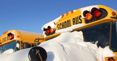 snow on school bus