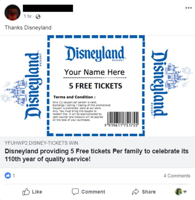 Fake free Disneyland tickets offer