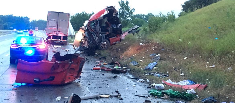 Semi-Truck 'Splits In Half' In Crash Along US-23 [VIDEO