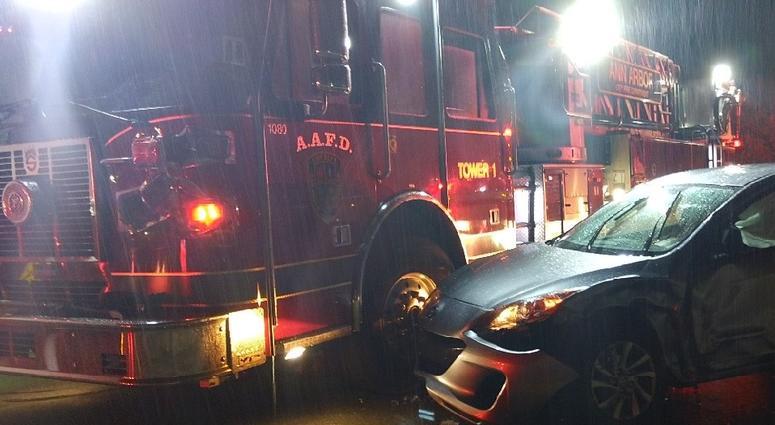 Fire Department Truck Guarding Crash Scene in Ann Arbor
