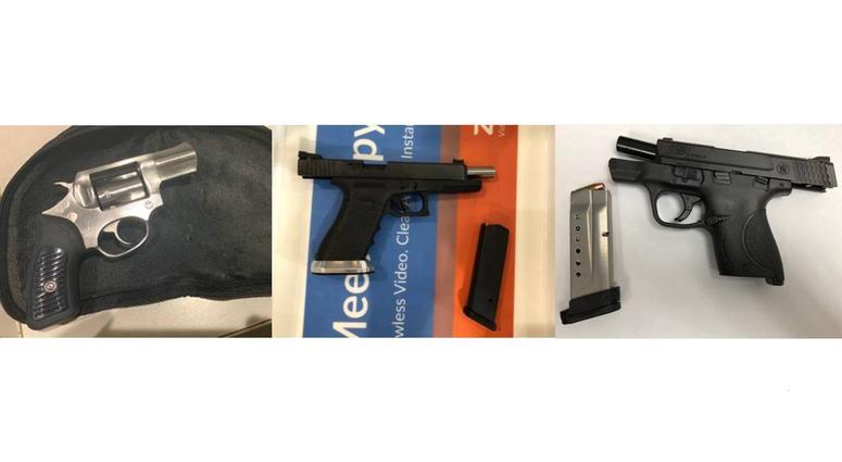 Three guns confiscated by TSA